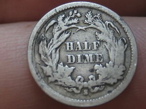 1866 S SEATED LIBERTY HALF DIME  VG DETAILS  KEY DATE