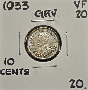 1933 CANADA 10 CENTS VF 20