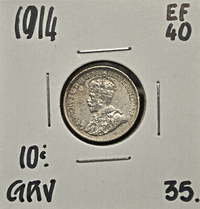 1914 CANADA 10 CENTS EF 40