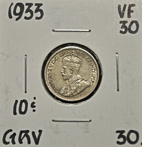1933 CANADA 10 CENTS VF 30