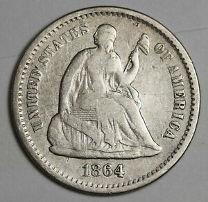 1864 S LIBERTY SEATED HALF DIME.  FINE.  142474