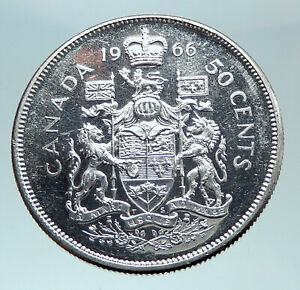 Click now to see the BUY IT NOW Price! 1966 CANADA UK QUEEN ELIZABETH II UNICORN OLD SILVER 50 CENTS COIN I80962
