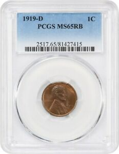 1919 D 1C PCGS MS65 RB   TOUGH DATE   LINCOLN CENT   TOUGH DATE