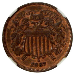 Click now to see the BUY IT NOW Price! 1867 DBL DIE OBV 2C NGC AU 55 FS 101   NEAT TWO CENT COPPER DDO VARIETY