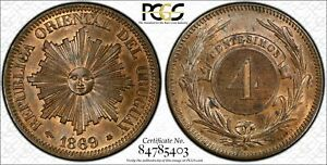 Click now to see the BUY IT NOW Price! URUGUAY 4 CENTESIMOS 1869 A MS64  RB PCGS KM13 2ND FINEST POP 1/1