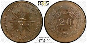 Click now to see the BUY IT NOW Price! URUGUAY 20 CENTESIMOS 1840 AU55 PCGS KM2.1 2ND FINEST POP 3/1   2125 MINTAGE