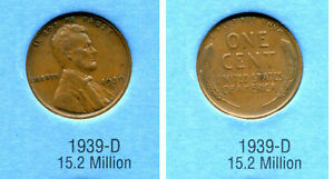 LINCOLN HEAD WHEAT CENT 1939 D AVERAGE CIRCULATED UNITED STATES 1 PENNY COIN B6