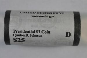 2015 D LYNDON B. JOHNSON PRESIDENTIAL ONE DOLLAR 25 COIN ROLL   MINT WRAPPED