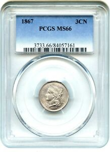 1867 3CN PCGS MS66   GEM TYPE COIN   3 CENT NICKEL   GEM TYPE COIN