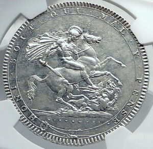 Click now to see the BUY IT NOW Price! 1820 GREAT BRITAIN UK KING GEORGE III ANTIQUE SILVER CROWN COIN NGC I81741