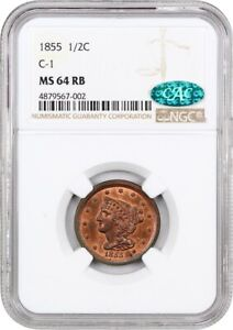 1855 1/2C NGC/CAC MS64 RB  C 1  NICE TYPE COIN   HALF CENT   NICE TYPE COIN