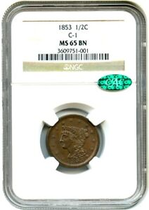 1853 1/2C NGC/CAC MS65 BN  C 1  GEM TYPE COIN   HALF CENT   GEM TYPE COIN