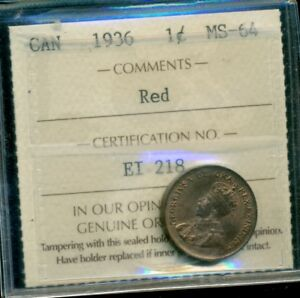 Click now to see the BUY IT NOW Price! 1936 CANADA KING GEORGE V SMALL CENT ICCS MS 64 RED