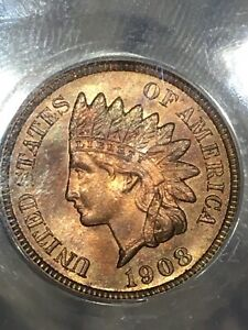 1908 S ANACS MS63RB INDIAN HEAD PENNY AMAZING LUSTER COLORFUL TONING