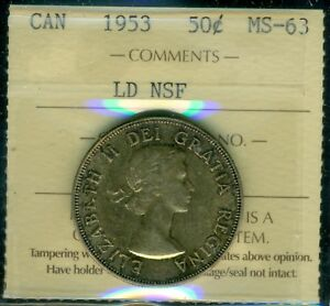 1953 LD NSF CANADA QUEEN ELIZABETH II FIFTY CENT PIECE ICCS MS 63 CERTIFIED