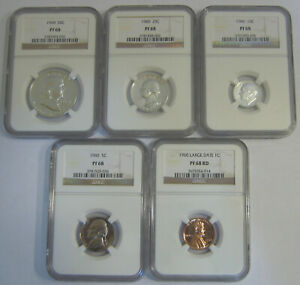 Click now to see the BUY IT NOW Price! MAGNIFICENT 1960 PROOF SET   ALL 5 COINS GRADE NGC PR68 PF68