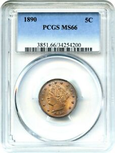 Click now to see the BUY IT NOW Price! 1890 5C PCGS MS66   BEAUTIFUL OBVERSE TONING   LIBERTY V NICKEL