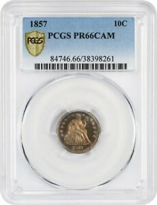 Click now to see the BUY IT NOW Price! 1857 10C PCGS PR 66 CAM   BEAUTIFUL TONING   LIBERTY SEATED DIME