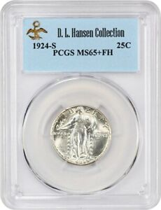 Click now to see the BUY IT NOW Price! 1924 S 25C PCGS MS65  FH EX: D.L. HANSEN   LUSTROUS KEY DATE   LUSTROUS KEY DATE