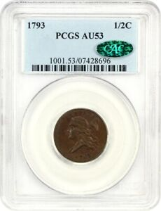 Click now to see the BUY IT NOW Price! 1793 1/2C PCGS/CAC AU53   FANTASTIC TYPE COIN   HALF CENT   FANTASTIC TYPE COIN
