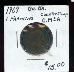 1909 GREAT BRITAIN FARTHING VF30 COUNTERSTAMP A230