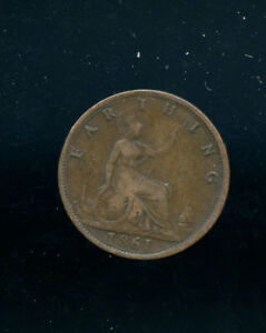 1861 GREAT BRITAIN FARTHING VF A657