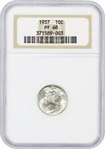 Click now to see the BUY IT NOW Price! 1937 10C NGC PR 68   STUNNING ULTRA GEM   MERCURY DIME   STUNNING ULTRA GEM