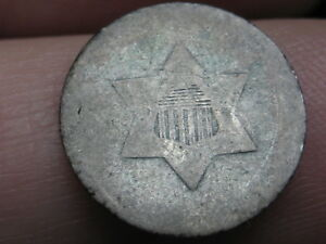 THREE 3 CENT SILVER TRIME  OLD TYPE COIN