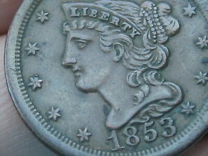 1853 BRAIDED HAIR HALF CENT  XF DETAILS