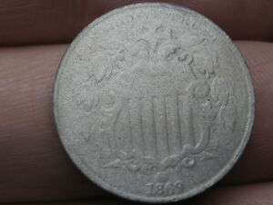 1869 SHIELD NICKEL 5 CENT PIECE  OLD TYPE COIN