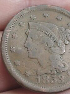 1853 BRAIDED HAIR LARGE CENT PENNY FINE/VF DETAILS