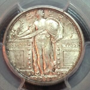 1917 D TYPE 1 PCGS  AU 58  STANDING LIBERTY QUARTER  NICE TYPE COIN