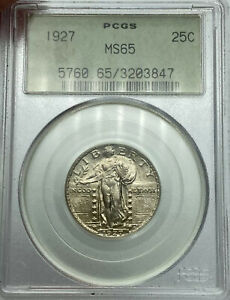 1927 P PCGS MS65 STANDING LIBERTY SILVER QUARTER OLD GREEN HOLDER TOUGH TO FIND