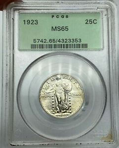 1923 P PCGS MS65 STANDING LIBERTY SILVER QUARTER OLD GREEN HOLDER