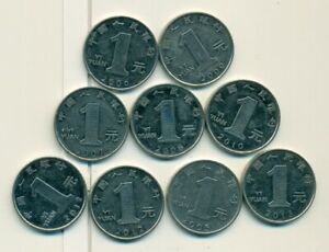 9   1 YUAN COINS FROM THE PEOPLE'S REPUBLIC OF CHINA  CONSECUTIVE 2005 2013
