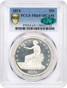 Click now to see the BUY IT NOW Price! 1874 TRADE$ PCGS/CAC PR 65  DCAM   FINEST KNOWN    US TRADE DOLLAR