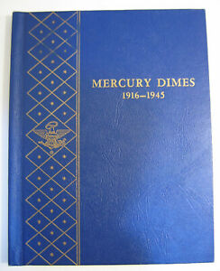 NICE SET OF 75 MERCURY DIMES IN WHITMAN ALBUM MISSING 1916 D AND 1921 D