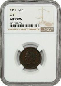1851 1/2C NGC AU53  C 1    BRAIDED HAIR HALF CENTS  1840 1857