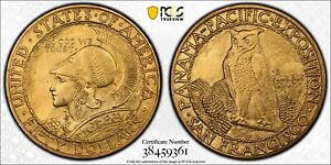 Click now to see the BUY IT NOW Price! 1915 S PCGS & CAC MS63 PAN PAC ROUND $50 GOLD