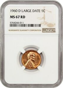 1960 D 1C NGC MS67 RD  LARGE DATE  LINCOLN MEMORIAL SMALL CENTS  1959 2008