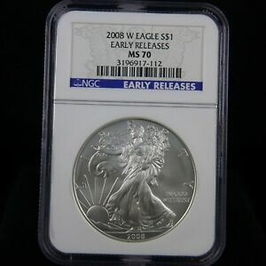 2008 W BURNISHED SILVER EAGLE NGC MS70 EARLY RELEASES BLUE LABEL
