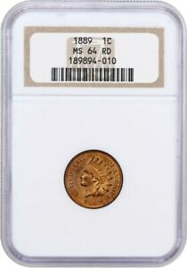 1889 1C NGC MS64 RD   INDIAN CENT