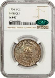 1936 NORFOLK 50C NGC/CAC MS67   COLORFUL TONING   SILVER CLASSIC COMMEMORATIVE
