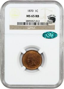 1870 1C NGC/CAC MS65 RB  EAGLE EYE PHOTO SEAL  INDIAN CENT