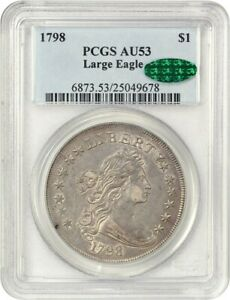 Click now to see the BUY IT NOW Price! 1798 LARGE EAGLE $1 PCGS/CAC AU53   GREAT BUST DOLLAR TYPE COIN
