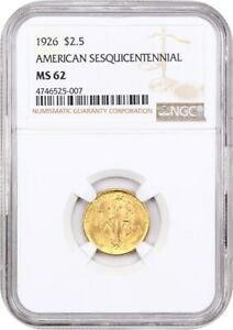 1926 SESQUICENTENNIAL $2 1/2 NGC MS62   CLASSIC COMMEMORATIVE   GOLD COIN