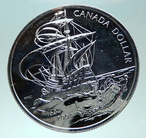 Click now to see the BUY IT NOW Price! 2004 CANADA UK QUEEN ELIZABETH II FRENCH SHIP GENUINE SILVER DOLLAR COIN I82311