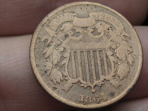 1864 TWO 2 CENT PIECE  LARGE MOTTO  VG DETAILS ROTATED REVERSE MINT ERROR