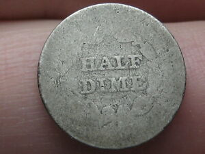 1840 1859 P SEATED LIBERTY HALF DIME  WITH DRAPERY