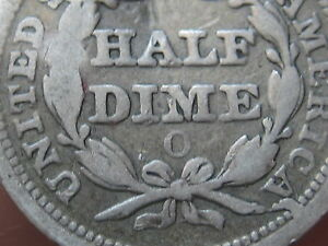 1855 O SEATED LIBERTY HALF DIME WITH ARROWS  FINE DETAILS  V2  REVERSE DIE CUD